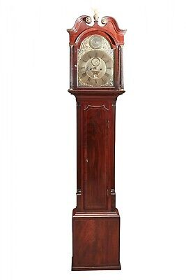 Mahogany Inlaid Brass Face Eight Day Grandfather Clock