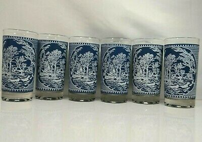 Vintage Set of 6 Currier & Ives Royal China Blue and White 12 oz Tumbler Glasses