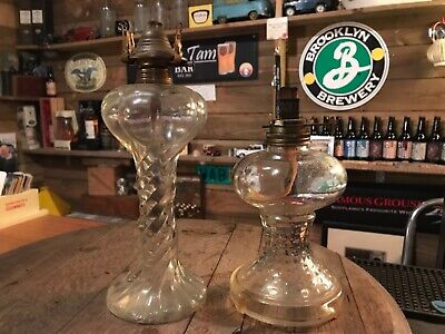 TWO NICE ANTIQUE VINTAGE CLEAR GLASS OIL LAMP BASES - no chimneys