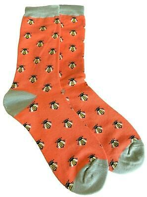 Bees Socks Ladies Orange Bumble Bee Print Soft Bamboo Cotton New Without Tags