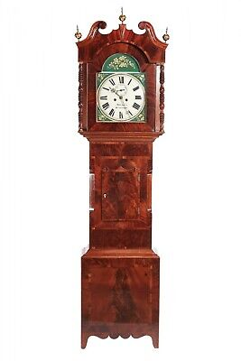 Outstanding Antique Mahogany 8 Day Painted Face Longcase Clock