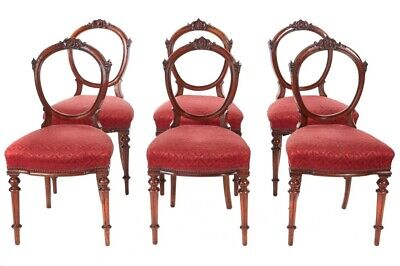 Fine Quality Set of 6 Antique Victorian Walnut Dining Chairs