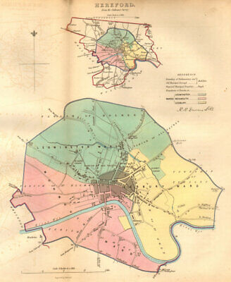 HEREFORD borough/town/city plan. BOUNDARY COMMISSION. DAWSON 1837 old map