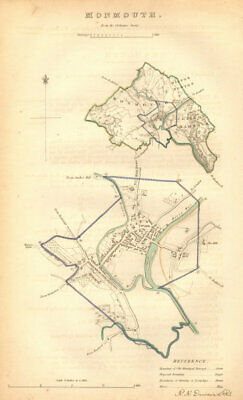 MONMOUTH borough/town plan. BOUNDARY COMMISSION. Monmouthshire. DAWSON 1837 map