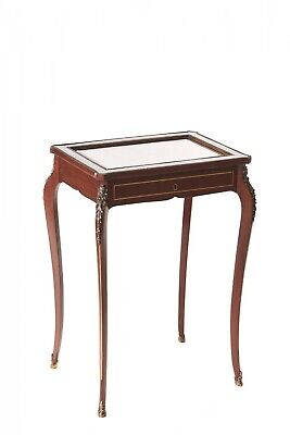 Antique French Mahogany Brass Inlaid Bijouterie Cabinet