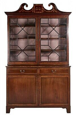 Outstanding Antique Mahogany Inlaid Bookcase