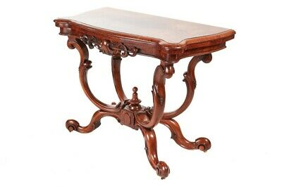 Unusual Victorian Burr Walnut Basket Base Card Table