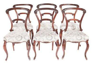 Quality Set Of 6 Victorian Carved Rosewood Dining Chairs