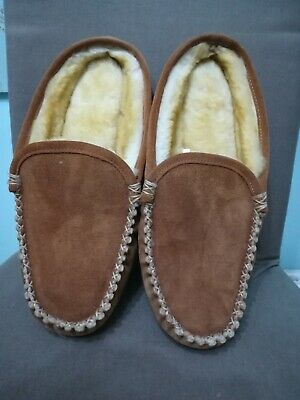 L.l Bean Brown Leather Slippers With Faux Fur Lining Size Uk 9 New Without A Box