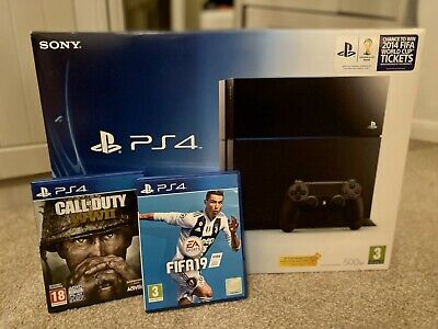 Sony PlayStation 4 500GB Console + FIFA 19 (Mint) + Call of Duty WWII (Mint)