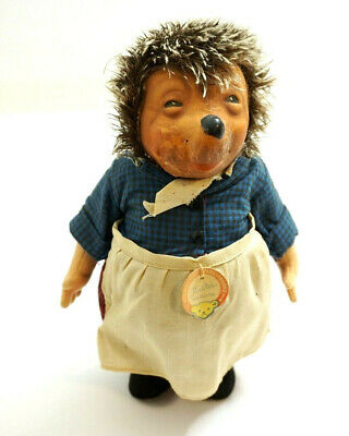 """Vintage Steiff Micki Hedgehog 10"""" Tall With Original Id Hang Tag Made In Germany"""