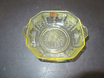 Anchor Hocking Yellow Topaz Depression Glass Cereal Bowl PRINCESS Pattern: EC
