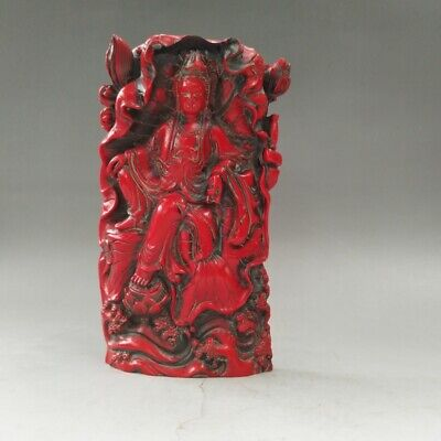 Exquisite OLD Chinese resin coral exquisite statue of guanyin bodhisattva