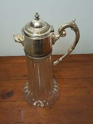 Vintage Crystal Glass ,Silver Plate Jug/Carafe/Pitcher 14' Dog Head Unusual!