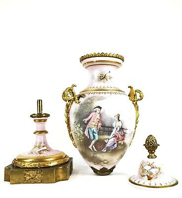 Antique French Pink Sevres Porcelain Vase of the 19th century