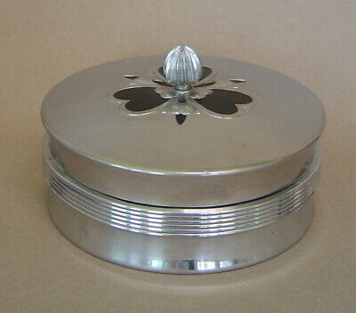 Vintage CHASE USA 1930's Art Deco CHROME GLASS POWDER VANITY BOX