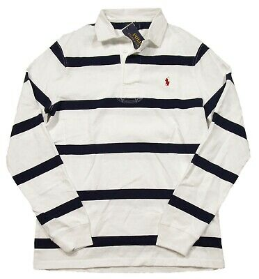 Special! Polo Ralph Lauren White/Navy Stripe Custom Slim Fit Rugby Polo Shirt