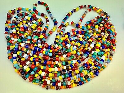 11 Strands Mixed Bright Tribal Vintage Padre Glass Trade Beads Czech Components