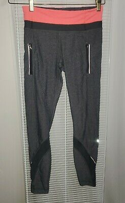 Lululemon Run Inspire Tights Black Pink Gray Strive Size 4 Zippers Pockets