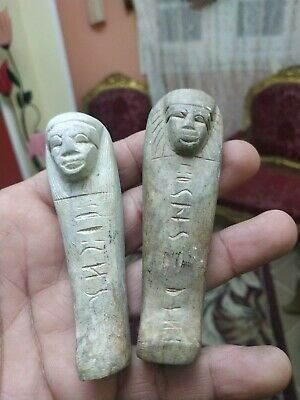 Rare Antique Ushabti Egyptian Ancient Shabti Statue Mummy hieroglyphic 2 Pieces