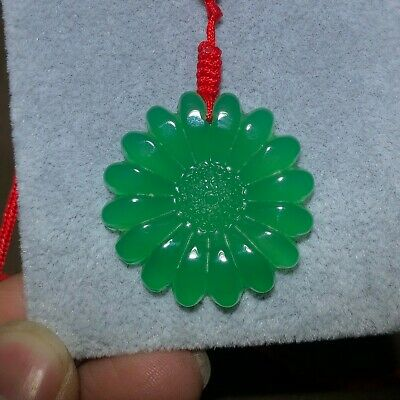 Collectible Green Agate Jade Carving Chinese Flower Handwork Jewellery Pendant