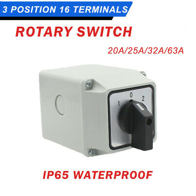 LW26 3-Position Rotary Selector Universal Rotary Transfer Switch Waterproof UK