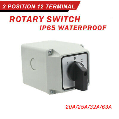 20Amp 25Amp 32Amp 63Amp 3 Pole Enclosed Changeover Switch Surface Mounted