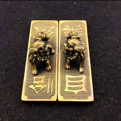 Chinese Hand Carved Pure copper Two lions Paperweight  怡然自乐