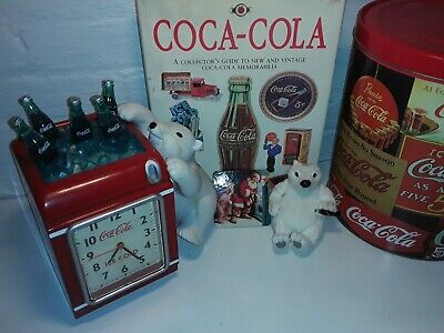 Vintage Coke A Cola Lot alarm clock works great big 1989 tin bin and book