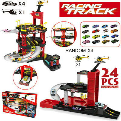 Christmas Sale❤-Vehicles Parking Garage Playset Toys 4 Cars&1 Helicopter Kids US
