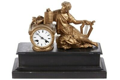 French Gilt Metal & Marble Figural Mantle Clock