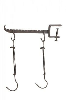 Unusual Antique Iron Meat Hooks with Clamp