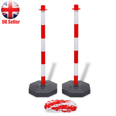 Chain Post Set 10m Plastic Traffic Guard Safety Warning Sign Barrier UK H1N5