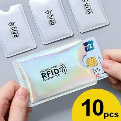 RFID Blocking Sleeve For Credit Card Protector Anti Theft Safety Shield 10Packs