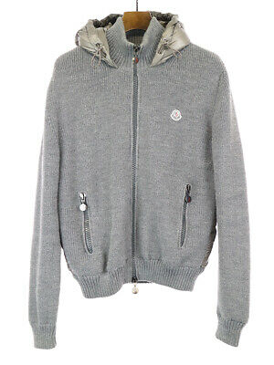 NEW MONCLER MEN Gray Maglione Tricot Down Knit Zip Front