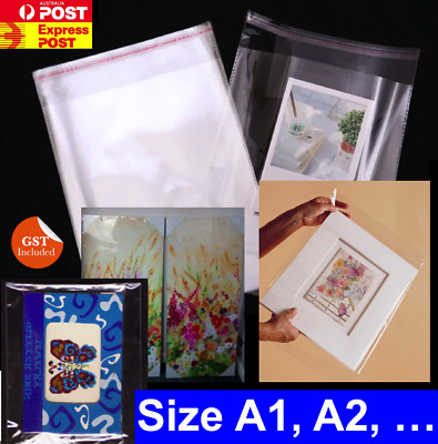 Clear Self Seal Adhesive Cello Cellophane Resealable Plastic Bags Size A1 , A2