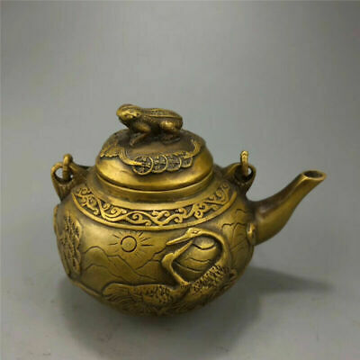 """5.51""""Exquisite Chinese brass Handmade carving Animal Toad Teapot wine pot"""