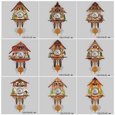 Cuckoo Wall Clock Bird Time Bell Retro Plastic Wood Living room