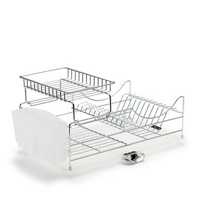 NEW Salt & Pepper SUBLIME Iron Convernient Stackable Functional Dish Rack Chrome