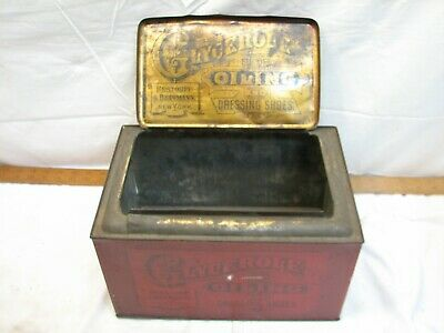 Antique Glycerole General Store Display Tin Ad Shoe Oil Dressing Polish Hardware