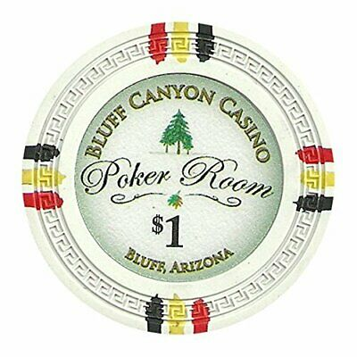 Bluff Canyon 13.5g Poker Chips, $1 Heavyweight Clay Composite, 25-pack