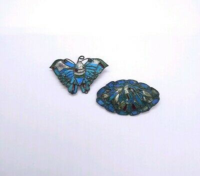 Antique Victorian Chinese Kingfisher Feather Tian-Tsui Brooches A/F Silver?