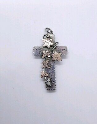 Beautiful Antique Victorian Silver Rose Gold Cross With Ivy Mourning / Romantic