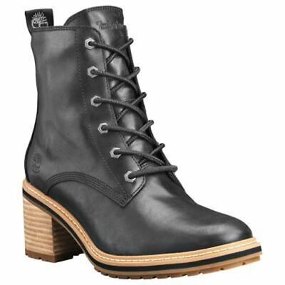 Timberland Women's Sienna High Waterproof Side Zip Lace Up Boots Black TB0A24TA0