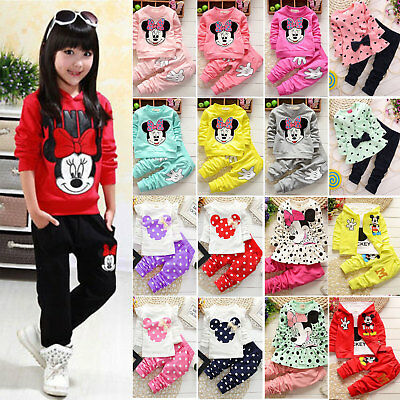 Baby Kids Girls Mickey Minnie Mouse Outfits Sweatshirt Tops Pants Tracksuit Set