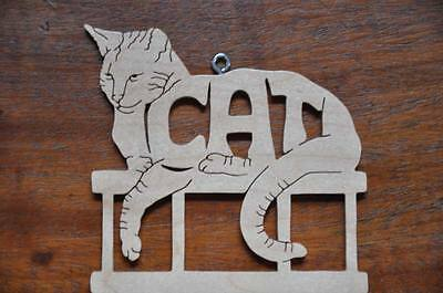 Cat Kitten Wood Hand Made Christmas Ornament Scroll Saw Hang Tag