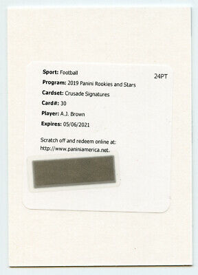 2019 Panini Rookies & Stars Crusade Signatures Redemption A.J. Brown Autograph