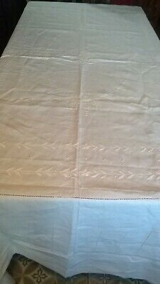 """Good Quality Vintage Cotton Tablecloth White Embriodery Large 79""""X 101"""""""