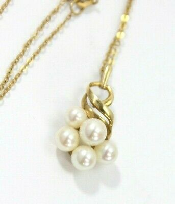 """Vintage 585 14K YELLOW GOLD Pearl Pendant, Chain Necklace: 4 Grams, 16"""" Long"""