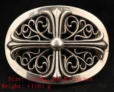Unique China 925 Silver Real Silver Solid Silver Belt Buckle Statue Crosses Old